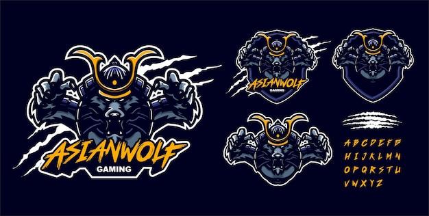 Modello di logo mascotte premium samurai lupo