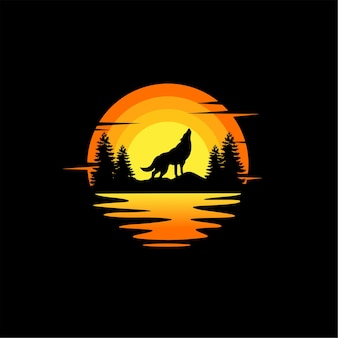Lupo silhouette illustrazione vettoriale animale logo design arancione tramonto nuvoloso vista sull'oceano