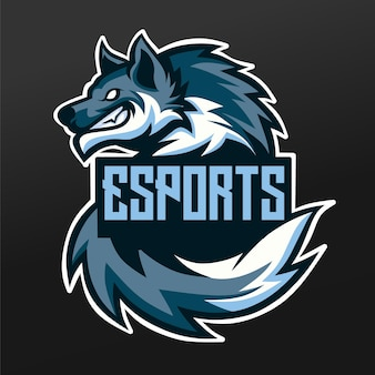 Wolf snow ice mascot sport illustration design per logo esport gaming team squad