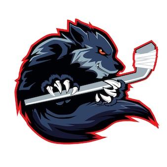 Logo di hockey mascotte sport lupo