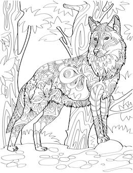 Lupo in piedi che guarda di traverso sullo sfondo della foresta incolore che disegna una grande volpe rivolta verso il lato