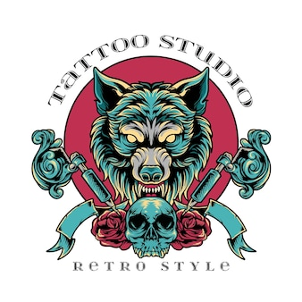 Stile retrò di wolf tattoo studio