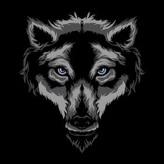 Arte dell'illustrazione di vettore del lupo Vettore Premium