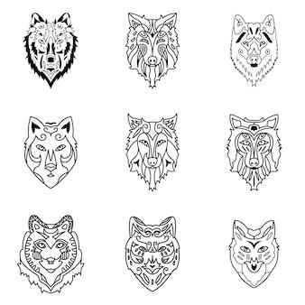 Insieme di vettore del lupo. semplice illustrazione a forma di lupo, elementi modificabili, può essere utilizzata nella progettazione del logo