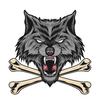 Illustrazione di lupo con ossa incrociate