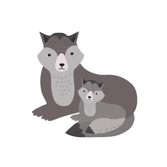 Lupo con cucciolo isolato su sfondo bianco. adorabile famiglia di simpatici animali carnivori della foresta selvaggia divertente. genitore con bambino, madre e bambino o cucciolo. illustrazione infantile di vettore del fumetto piatto.