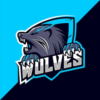 Lupo lupo mascotte esport logo design