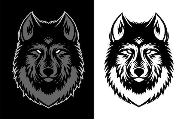 Illustrazione dei dettagli dei lupi per il modello di design della camicia
