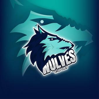 Logo della mascotte di gioco dei lupi esport