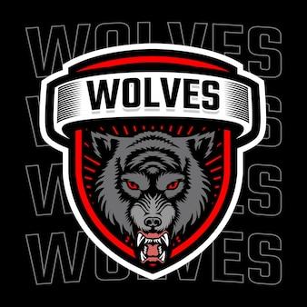 Logo mascotte testa di lupo