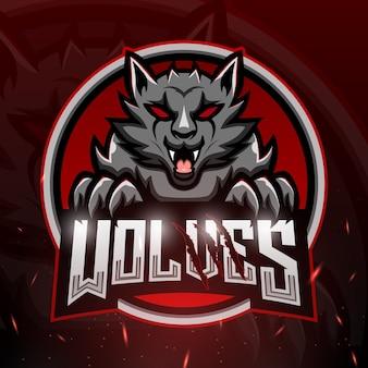 Illustrazione di esport mascotte di lupi