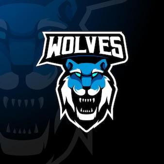 Vettore di progettazione del logo della mascotte dei lupi con stile di concetto di illustrazione moderna per la stampa di badge, emblemi e magliette illustrazione del lupo per esport, giochi, squadra