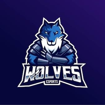 Emblema del logo della mascotte dei lupi per esport