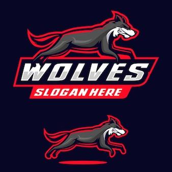 Illustrazione di logo della mascotte dei lupi
