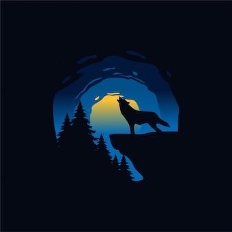 Lupi di notte illustrazione silhouette
