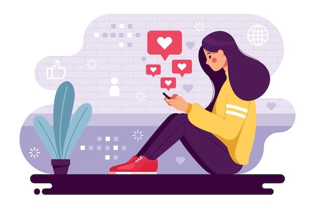 Donna dipendente dai social media