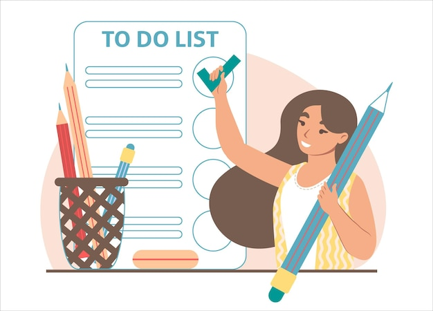 Donna che aggiunge un segno di spunta nella lista delle cose da fare sullo schermo dello smartphone, illustrazione vettoriale. gestione delle attività, pianificazione, programmazione.