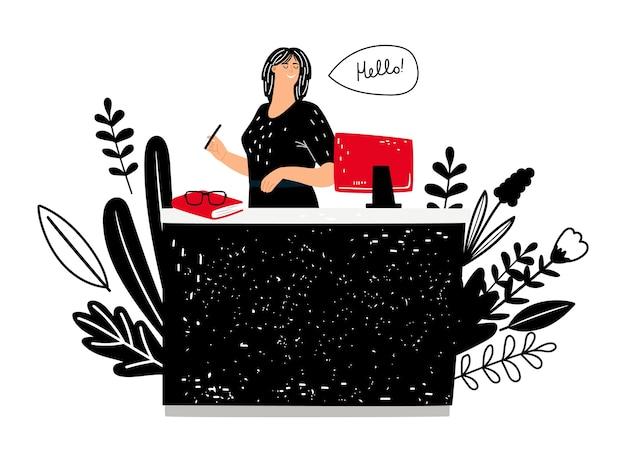 Amministratore donna al lavoro. la ragazza sorridente lavora all'illustrazione di vettore dello scrittorio di informazioni