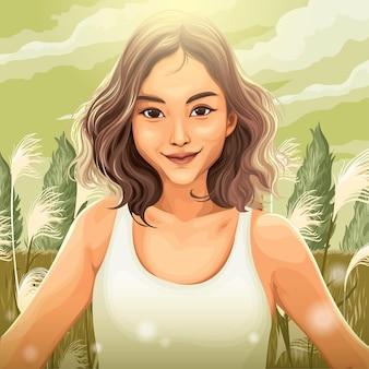 Donna tra l'erba della pampa