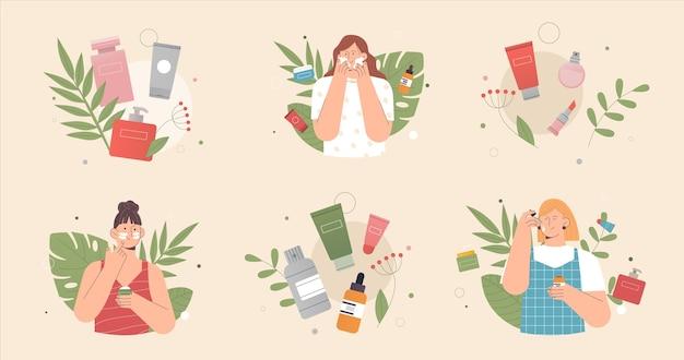 La donna applica la crema e la pulizia o l'idratazione della pelle