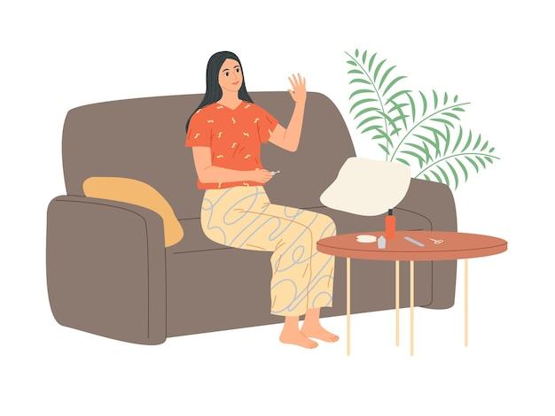 La donna applica lo smalto sulle unghie e guarda la sua mano soddisfatta. Vettore Premium