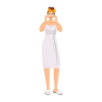 Donna che applica sotto gli occhi patch carattere senza volto di colore piatto. crema per il viso utilizzando illustrazione di cartone animato isolato per web design grafico e animazione. occhiaie e prevenzione del gonfiore