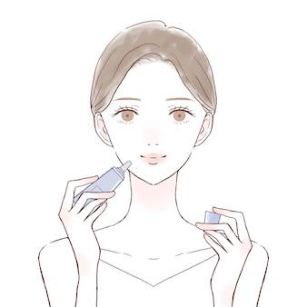 Donna che applica balsamo per le labbra. su uno sfondo bianco.