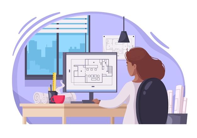 Donna architetto creando progetti di costruzione con disegni tecnici sull'illustrazione del fumetto del computer