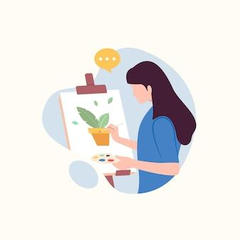 Artista donna che dipinge un'illustrazione vettoriale di pianta plant