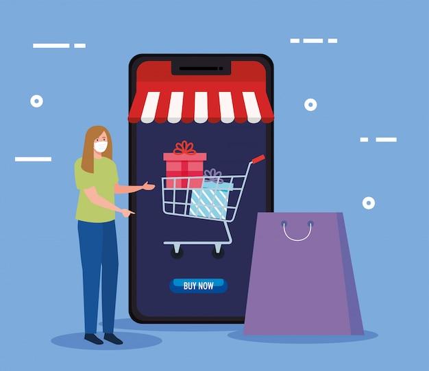 Avatar della donna con la borsa della maschera e lo smartphone della vendita al dettaglio online di compera del mercato del commercio elettronico e compri l'illustrazione di tema