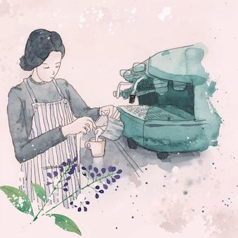 Illustrazione dell'acquerello del caffè espresso del barista della donna