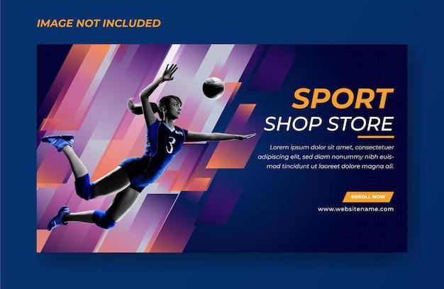 Banner di pallacanestro donna o modello di banner sportivo premium vector