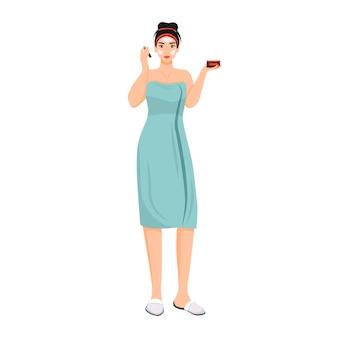 Donna in accappatoio che applica carattere senza volto crema viso colore piatto. ragazza che utilizza sotto gli occhi balsamo isolato fumetto illustrazione per web design grafico e animazione. procedura di cura della pelle