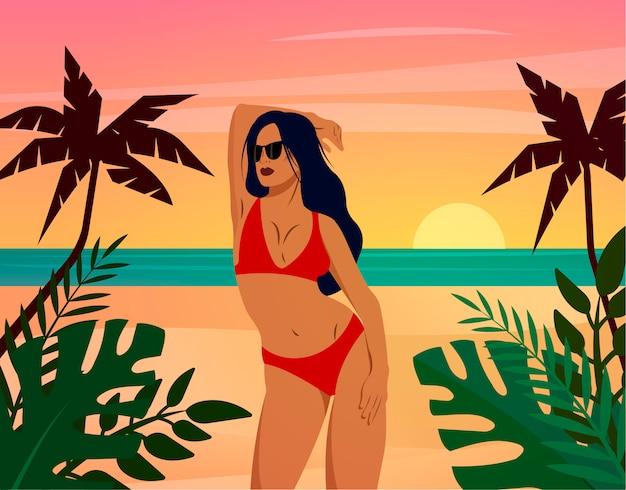 Donna in spiaggia in posa in un bikini rosso. concetto per agenzie turistiche, negozi di costumi da bagno. illustrazione di moda.
