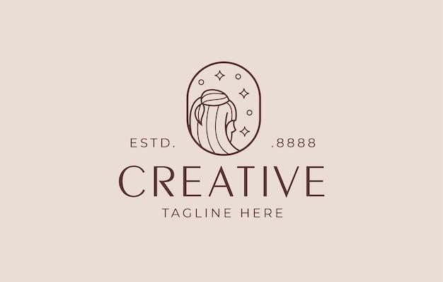 Modello di disegno di arte di linea di logo di salone di bellezza di progettazione di logo di capelli belli della donna
