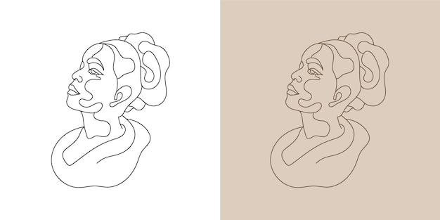 Arte della parete pronta per la stampa di arte della linea disegnata a mano minima del viso di bellezza della donna.