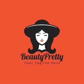 Fronte di bellezza della donna con cappello e capelli lunghi nell'illustrazione di logo di stile della siluetta bianca nera
