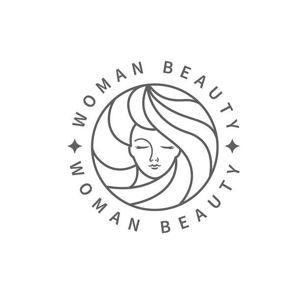 Marchio di moda di bellezza della donna. disegno del modello in bianco e nero in stile minimal, emblema per studio di bellezza e cosmetici, distintivo per il trucco, viso di bella donna nei capelli. illustrazione di vettore.
