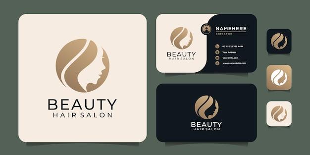 Design del logo del parrucchiere di bellezza della donna per la decorazione della spa