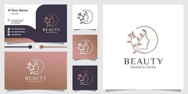 Modello di logo di bellezza della donna con linea creativa concetto di arte cosmetica spa naturale vettore premium