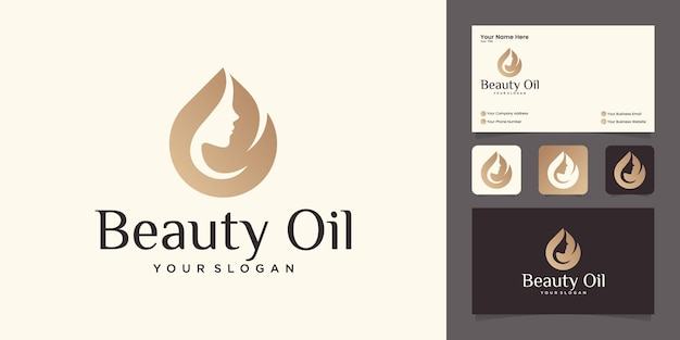 Disegno di marchio di olio di bellezza donna con volto di donna e modello di disegno di olio d'oliva e biglietto da visita
