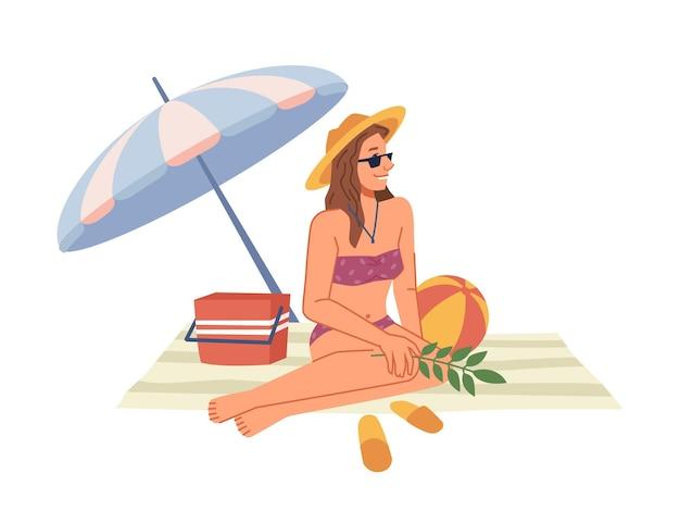 Donna in costume da bagno bikini seduta su una coperta sotto l'ombrellone che prende il sole sulla spiaggia piatta cartoon