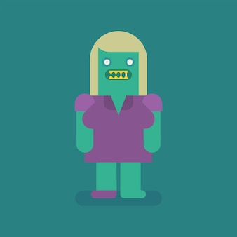 Carattere di zombie bionda donna. carattere vettoriale. illustrazione vettoriale
