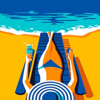 Donna in costume da bagno blu, prendere il sole sulla spiaggia