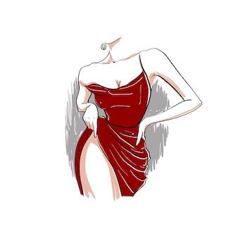 Corpo di donna in abito rosso mano su un'illustrazione dell'anca
