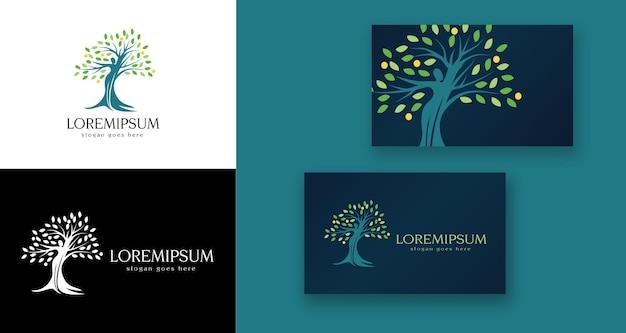 Logo medico di salute mentale dell'albero del corpo della donna