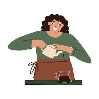 La donna prepara il tè con le proprie mani. fare il tè in un caffè. illustrazione piatta vettoriale isolato su sfondo bianco.