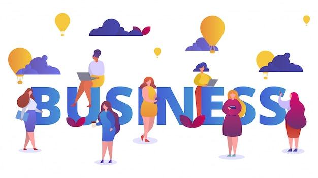 Donna nel concetto del segno di affari, illustrazione. successo di carattere ragazza, persone simbolo imprenditrice. creatività