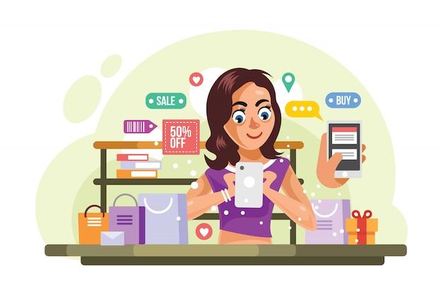 Cose d'acquisto della donna all'illustrazione di vettore del deposito online