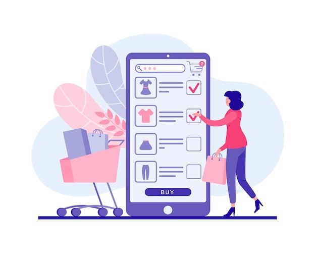 La donna compra i vestiti nell'illustrazione piana dell'applicazione web mobile. il personaggio femminile invia gli articoli che le piacciono al carrello della spesa online. sconti vantaggiosi nei negozi online di marketing di alta qualità.